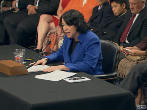 Judge Sonia Sotomayor speaks Monday to the Senate panel considering her nomination to the Supreme Court.