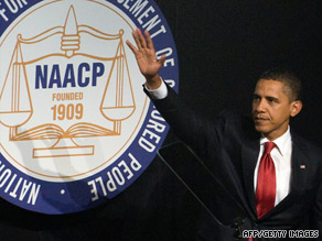 President Obama addresses the NAACP in New York Thursday night on the group's 100th anniversary.