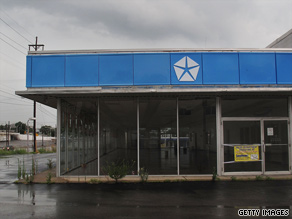 The empty showroom of a closed Chrysler dealership is seen July 12 in Nashville, Tennessee.