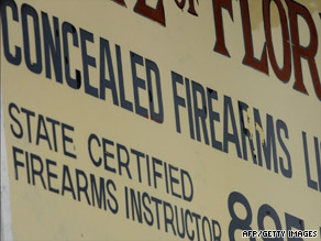 A Miami, Florida, gun store offers concealed weapons training.