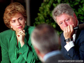 In 1993, President Bill Clinton and First Lady Hillary  Clinton listen to a man's story about health care problems.