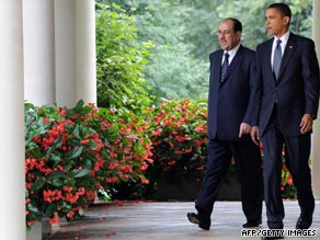 President Obama and Iraqi Prime Minister Nuri al-Maliki talk Wednesday at the White House.