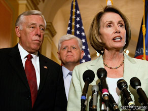 Majority Leader Steny Hoyer, left, Rep. John Larson and Speaker Nancy Pelosi address the news media Monday.