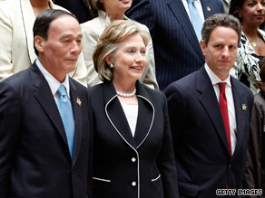 Secretary of State Hillary Clinton, Treasury Secretary Tim Geithner, Chinese Vice Premier Wang Qishan
