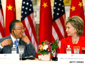 Chinese state councilor Dai Bingguo confers with Hillary Clinton on Tuesday at the U.S. State Department.