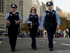 Police officers in Chicago, Illinois, patrol the streets in November 2008.