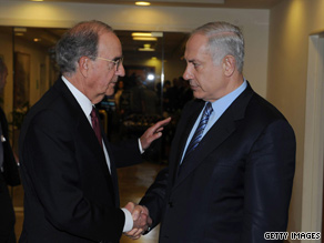 U.S. Mideast peace envoy George Mitchell, left, meets Israeli Prime Minister Benjamin Netanyahu on Tuesday.