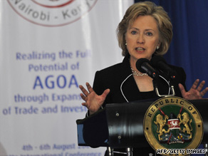 Top diplomat Hillary Clinton speaks at the African Growth and Opportunity conference in Nairobi Thursday.
