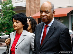 Former Rep. William Jefferson arrives at U.S. District Court with his wife, Andrea, on June 9.