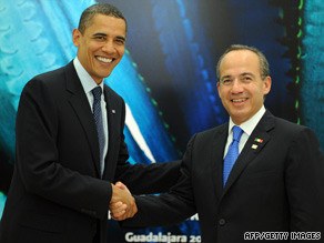 President Obama shakes hands with Mexican President Felipe Calderon in Gaudalajara, Mexico, on Sunday.