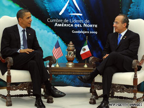 President Obama meets with Mexican President Felipe Calderon on Sunday in Guadalajara.