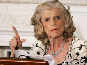 Eunice Kennedy Shriver speaks at a dinner in honor of the Special Olympics in July 2006.