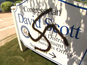 Rep. David Scott&#039;s staff found a swastika on a sign outside his district office in Georgia.
