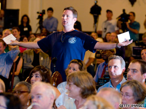 Voters are confronting lawmakers with tough questions on health care at town hall meetings across the country.