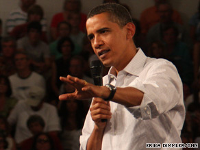 President Obama at a town hall meeting earlier this week pushing his health care reform plan.