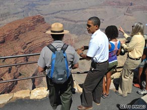 President Obama and his family visit the Grand Canyon in Arizona, a national park.