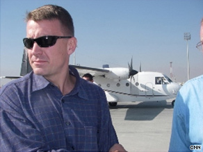 Erik Prince (wearing brown) is pictured in Afghanistan in November 2007.