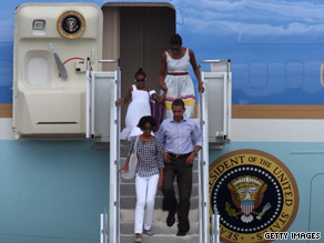 President Obama and his family arrive at Cape Cod, Massachusetts, on Sunday en route to a vacation on Martha's Vineyard.