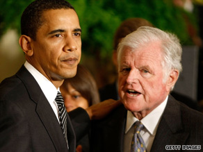 Massachusetts Sen. Ted Kennedy meets with President Obama in March 2009.