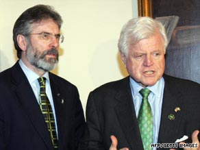 Senator Edward Kennedy, right, pictured with Northern Irish politician Gerry Adams in 1996.
