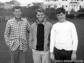 Ted Kennedy, far right, with brothers Bobby, center, and Jack in 1948.