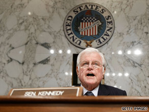 "Sen. Edward ""Ted"" Kennedy speaks at a Senate hearing on Capitol Hill on March 31."