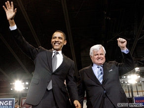  Sen. Ted Kennedy was an early supporter of Barack Obama&#039;s presidential campaign.