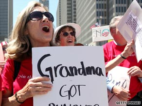A protester takes part in an anti-health care reform rally August 14 in San Francisco, California.