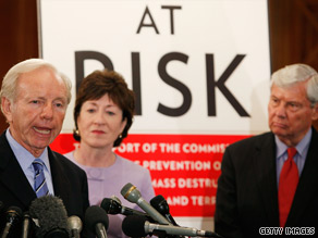 Sen. Joe Lieberman, Sen. Susan Collins and former Sen. Bob Graham introduce the measure Tuesday.