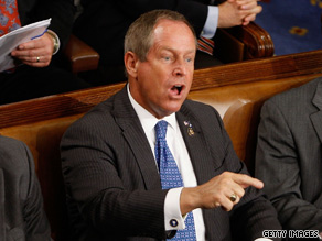 Joe Wilson shouts at U.S. President Barack Obama during his speech Wednesday about healthcare reform.