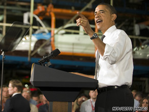 President Obama addresses autoworkers Tuesday at a General Motors plant in Ohio.