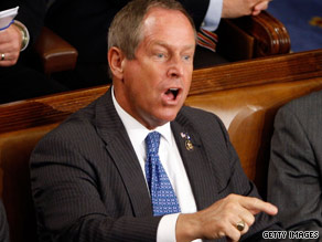 "Rep. Joe Wilson, R-South Carolina, shouts ""You lie!"" during President Obama's speech Wednesday night."