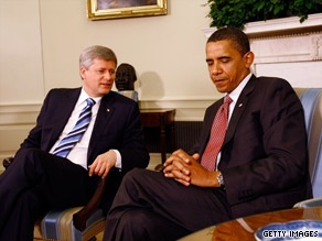 Canadian Prime Minister Stephen Harper, left, and President Obama meet in Washington on Wednesday.
