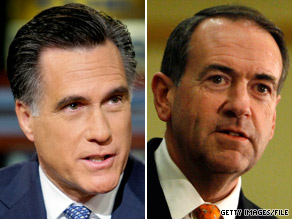 As Mitt Romney, left, defended his health care record Saturday, Mike Huckabee won a vote.