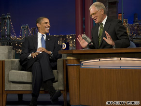 President Obama jokes with David Letterman in New York in an interview taped Monday afternoon.