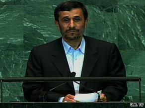 Iranian President Mahmoud Ahmadinejad addresses the 64th United Nations General Assembly last Wednesday.