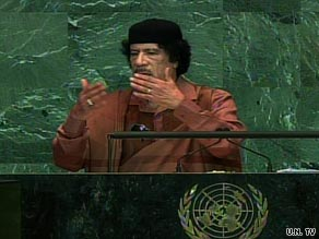 Libyan leader Moammar Gadhafi addresses the U.N. General Assembly on Wednesday.