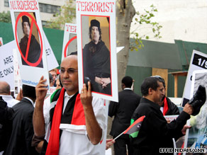Supporters of Gadhafi also are evident Wednesday in New York near the United Nations.