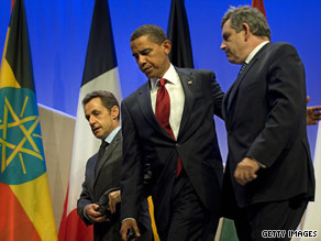 France's Nicolas Sarkozy, President Obama and Britain's Gordon Brown issued tough statements on Iran.