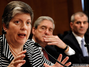 From left: Janet Napolitano, Robert Mueller and Michael Leiter testify before a Senate committee.