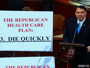 "Rep. Alan Grayson, D-Florida, made the ""die quickly"" remark on the House floor Tuesday night."