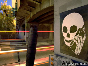 A graffiti image gets the message across on a Los Angeles, California, underpass.