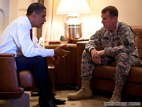 President Obama and Gen. Stanley McChrystal aboard Air Force One