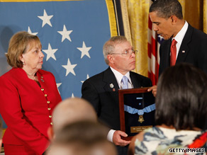 President Obama presents the posthumous Medal of Honor to Paul and Janet Monti whose son Sergeant First Class Jared C. Monti was killed in Afghanistan.