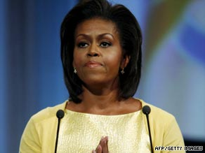 Michelle Obama's speech in Copenhagen focused on her roots in Chicago and her father's battle with MS.