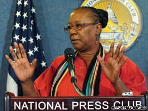 ACORN leader Bertha Lewis defends her group at the National Press Club on Tuesday in Washington.