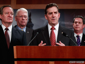 From left: Sens. Michael Crapo, Jim Bunning, Jim DeMint and David Vitter discuss their resolution Wednesday.