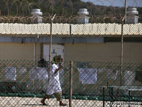 A detainee inside the Guantanamo Bay prison is shown in May 2009.