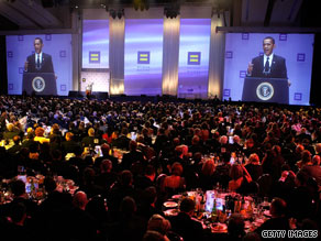 President Obama speaks to a major gay-rights group Saturday night in Washington.