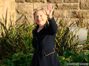 U.S. Secretary of State Hillary Clinton arrives Monday at Stormont Castle in Belfast, Northern Ireland.